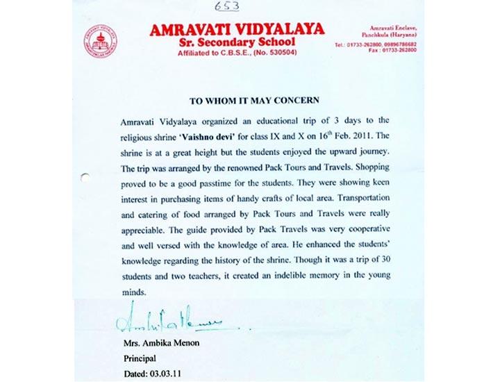 Appreciation for Tours to Katra / Vaishno Devi – Jammu